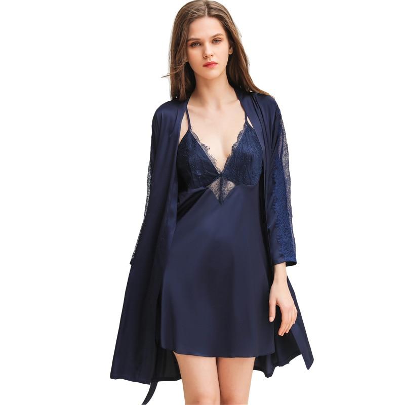 2019 Women Silk Robe & Gown Sets Lace Sleep Lounge Pijama Long Sleeve Ladies Nightwear Lace Satin Bathrobe+Night Dress