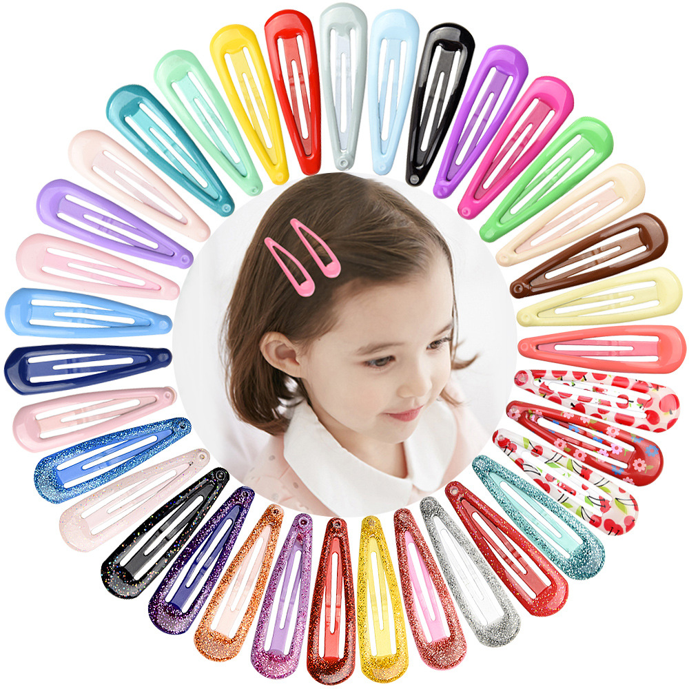 20Pcs//Set Candy Color Hairpins Snap Hair Clip Kids Girl Metal Barrettes BB Clips