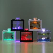 Мини-аквариумные рыбки Betta аквариумные рыбки строительный блок декор для офисного стола домашний декор миска для кормления малышей светодиодный свет