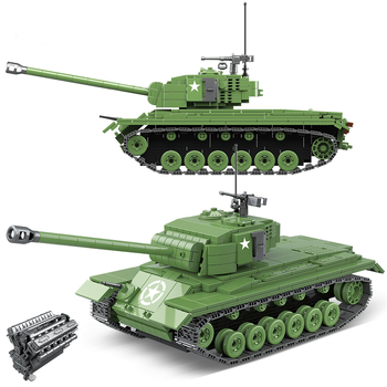Military M26 Pershing Heavy Tank Building Blocks City US German Tiger 131 Tank Bricks Police Army Soldiers  Children Toys Gifts 1