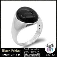 925 เงินสเตอร์ลิงผู้ชายแหวนหินธรรมชาติOnyxแหวนสำหรับผู้ชายผู้หญิงตุรกีHandmadeเครื่องประดับ