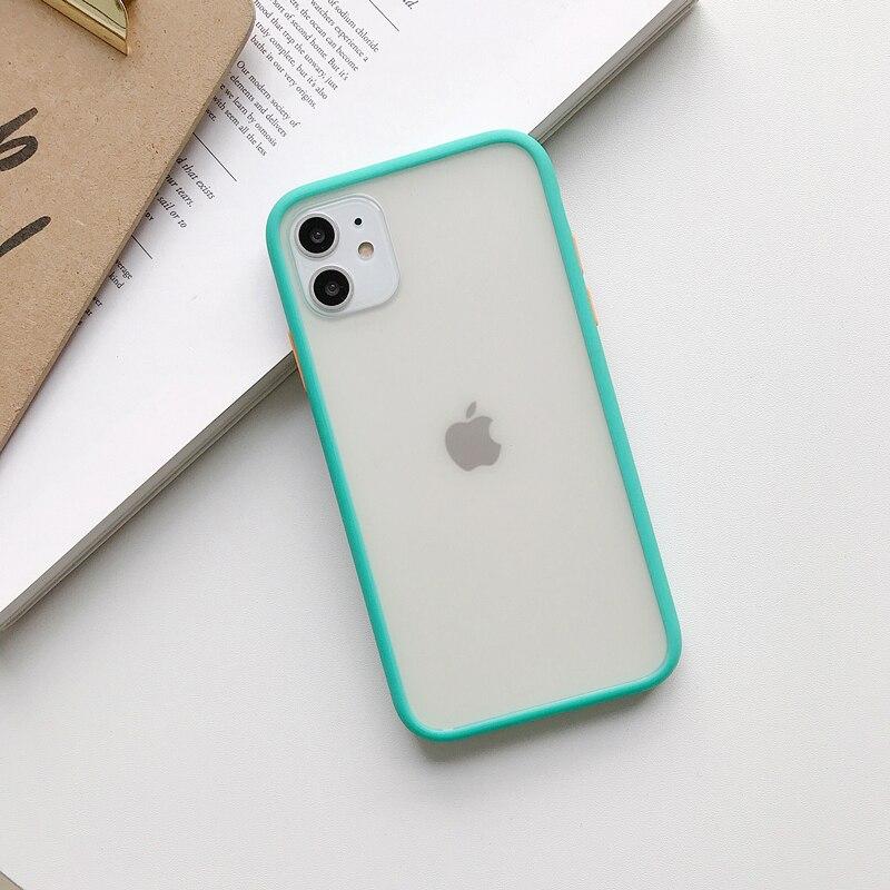 Прозрачный противоударный чехол для телефона для iPhone 11 Pro X XR XS Max 6 6s 7 8 Plus, чехол-бампер, силиконовая матовая прозрачная задняя крышка - Цвет: H