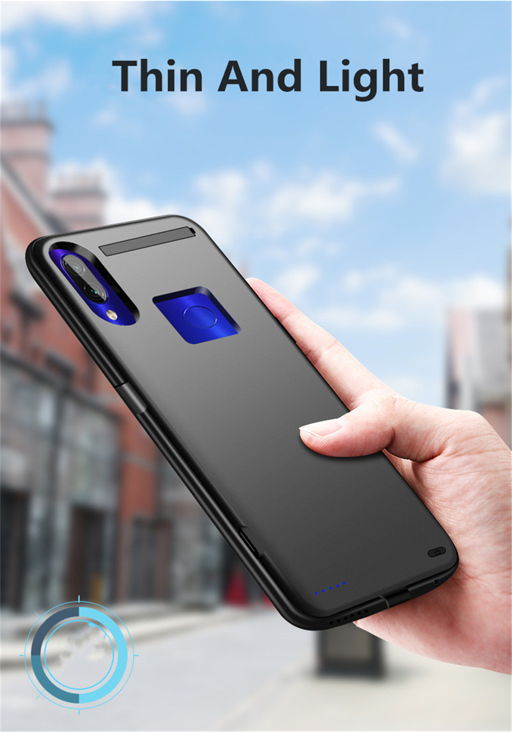 5500mAh Shockproof Battery Charger Case For Xiaomi Redmi Note 7 External Power Bank Pack Case For Redmi Note 7 Pro Back Cover