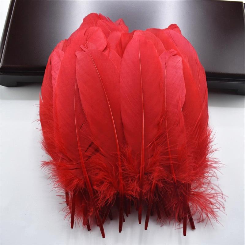 Жесткий полюс, натуральные гусиные перья для рукоделия, 5-7 дюймов/13-18 см, самодельные ювелирные изделия, перо, свадебное украшение для дома - Цвет: Red