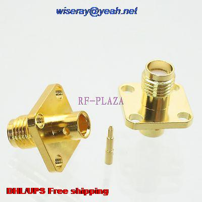DHL/EMS 200pcs Connector RPSMA Female 4-holes Flange Solder Semi-rigid RG402 0.141