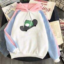 2021 nova marca de moda sapos hoodies inverno feminino casual retalhos cor hoodies moletom masculino hip hop streetwear hoodie topos
