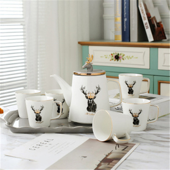 High Quality Deer Head Porcelain Coffee Cups Ceramic Black Tea Cups On-glazed Advanced Tea Cups And Saucers Sets Luxury Gifts