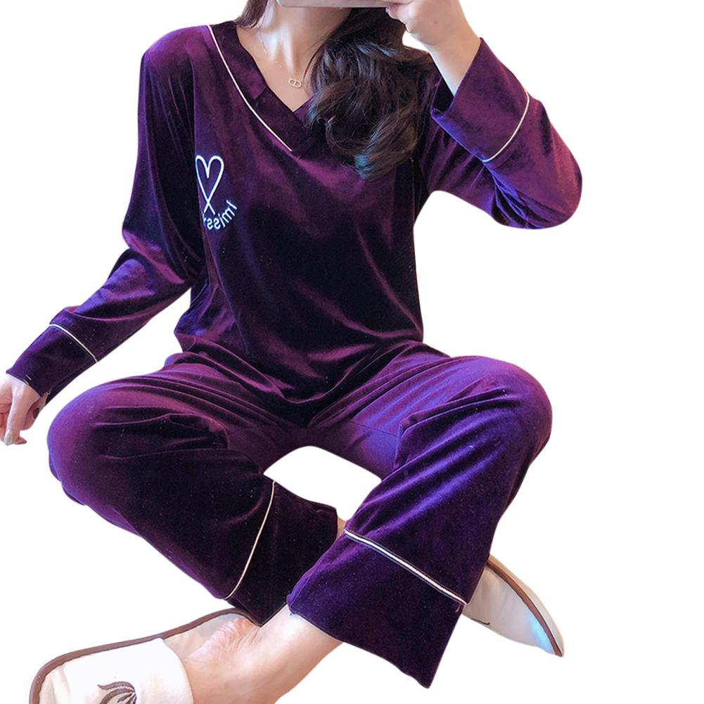 MISSKY Lady Women Pajama Sets Pleuche Velvet Pajamas Set V-Neck Long Sleeves Plus Size Autumn Winter Home Suit Female Sleepwear