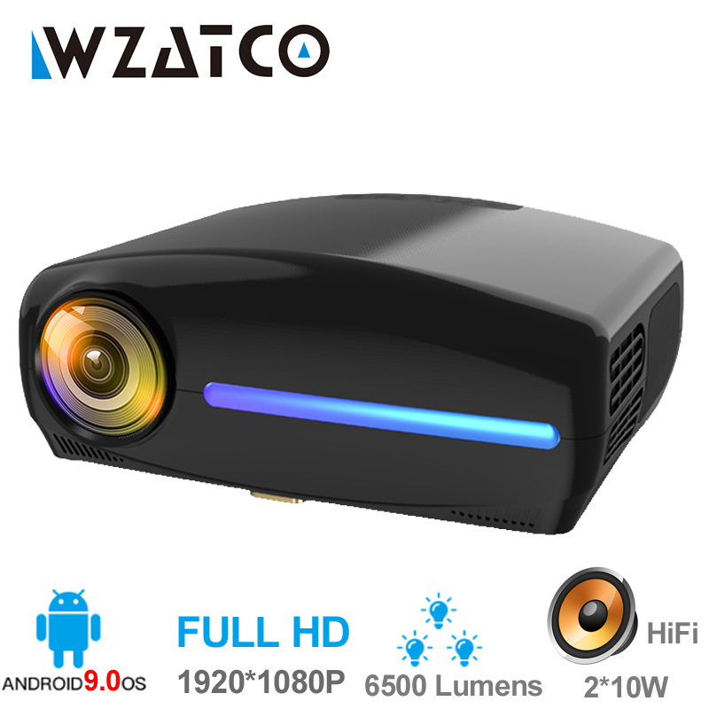 WZATCO C2 1920*1080P Full HD 45 degrés numérique keystone projecteur LED android 9.0 Wifi en option Portable maison Proyector Beamer