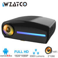 WZATCO C2 1920*1080P Full HD 45degree Digital keystone LED Projector android 9.0 Wifi Optional Portable Home Proyector Beamer