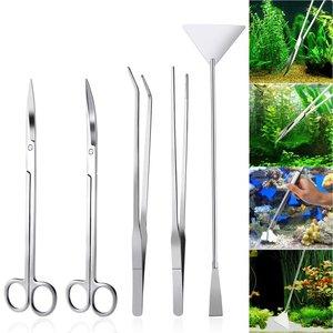"Image 5 - 6 Stks/partij 10 ""Aquarium Cleaning Tools Aquascaping Landschapsarchitectuur Tool Kits Rvs Waterplanten Schaar Pincet Set"