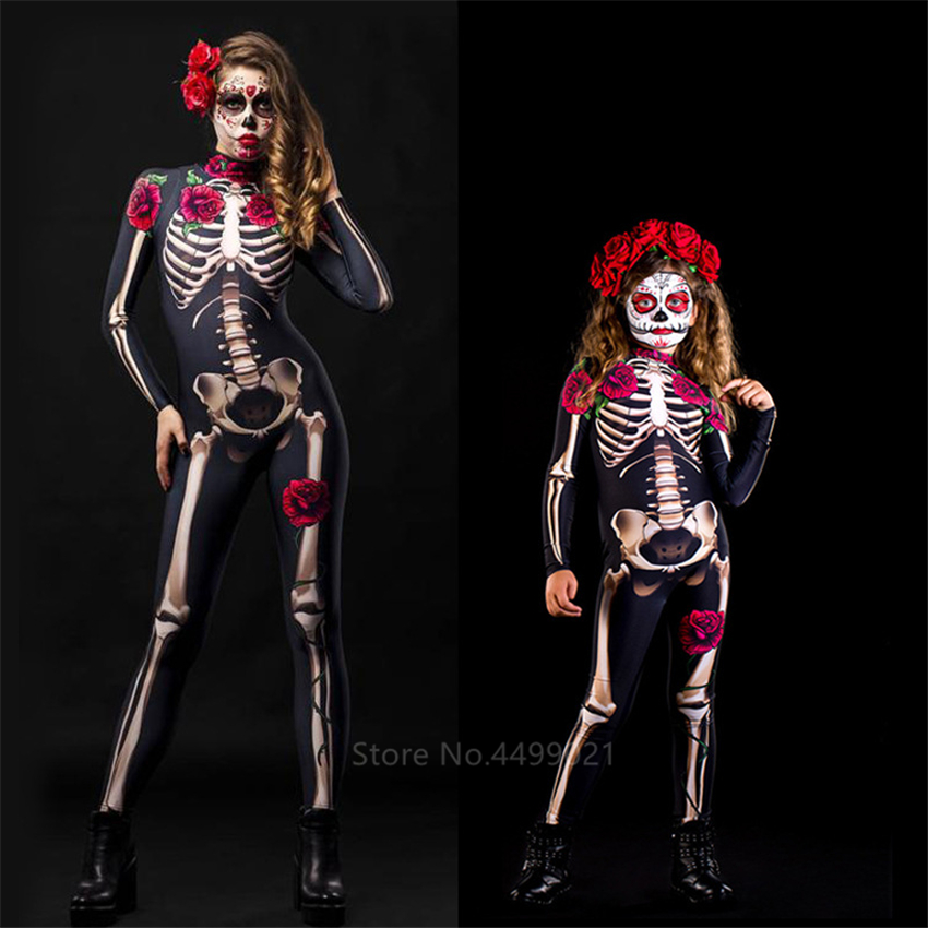 Rose Skeleton Adult Kids Scary Costume Halloween Dress Cosplay Sexy Jumpsuit Carnival Party Baby Girl Rompers Day Of The Dead