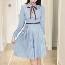 2019 Spring and summer new style Fashionable temperament ladies pleated dress Long sleeve college wind chiffon