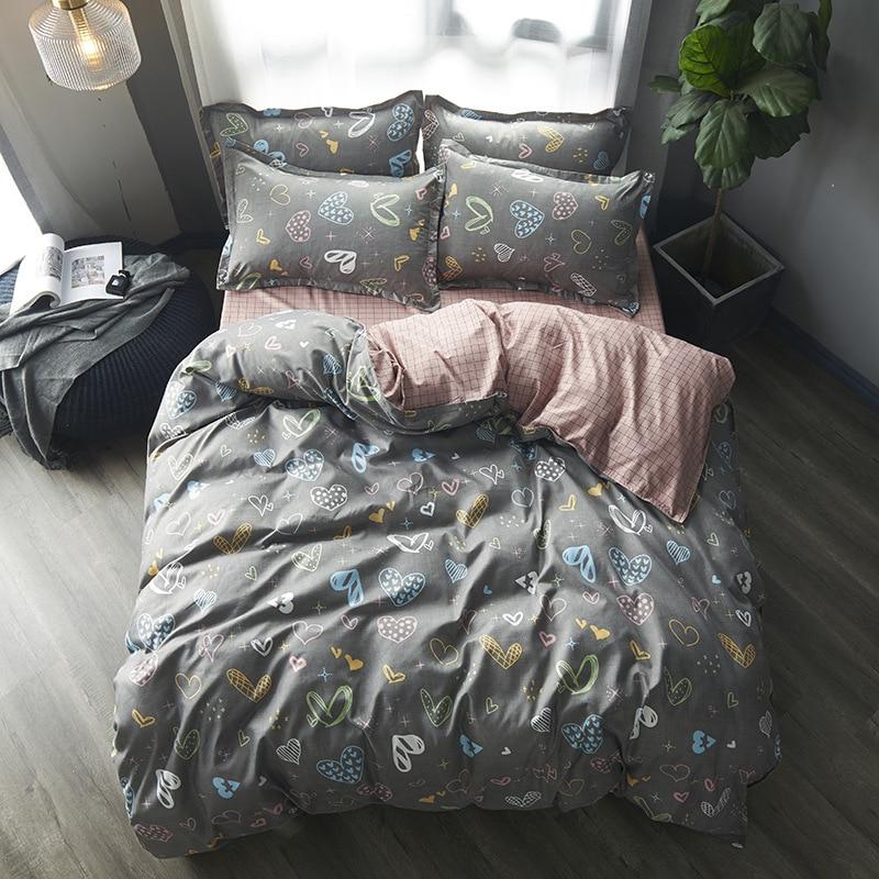 Luxury Check Geometric Grey Reversible Duvet Quilt Cover Bedding Set All Sizes