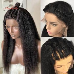 Кудрявый прямой парик, бразильские человеческие волосы 13*4 передний парик с волосами ребенка предварительно отобранные волосы Арабелла Рем...