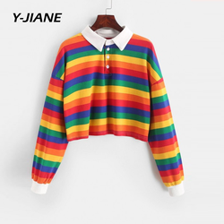 Toppies Abstract T-Shirts Rainbow Printing Women Tops Straped Color Autumn White Cotton Top Tees Harajuku Clothing#G3