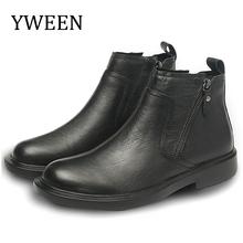 YWEEN oryginalne skórzane buty męskie 2020 jesienne zimowe buty męskie skórzane buty Casual Men wygodne antypoślizgowe sznurowane buty tanie tanio Podstawowe CN (pochodzenie) ANKLE Stałe Dla dorosłych Okrągły nosek RUBBER Zima Niska (1 cm-3 cm) 7207 Pasuje prawda na wymiar weź swój normalny rozmiar