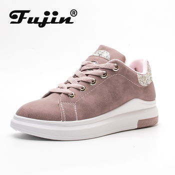 Fuijin 2020 Spring Summer Autumn women Fashion sneakers  female casual shoes  platform PU leather classic cotton lace up shoes