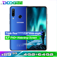 Doogee N20 Mobile Phone 6.3 4GB+64GB Octa Core 4G Smartphone Waterdrop Screen 16MP Triple Rear Cameras 4350mAh 10w Charge