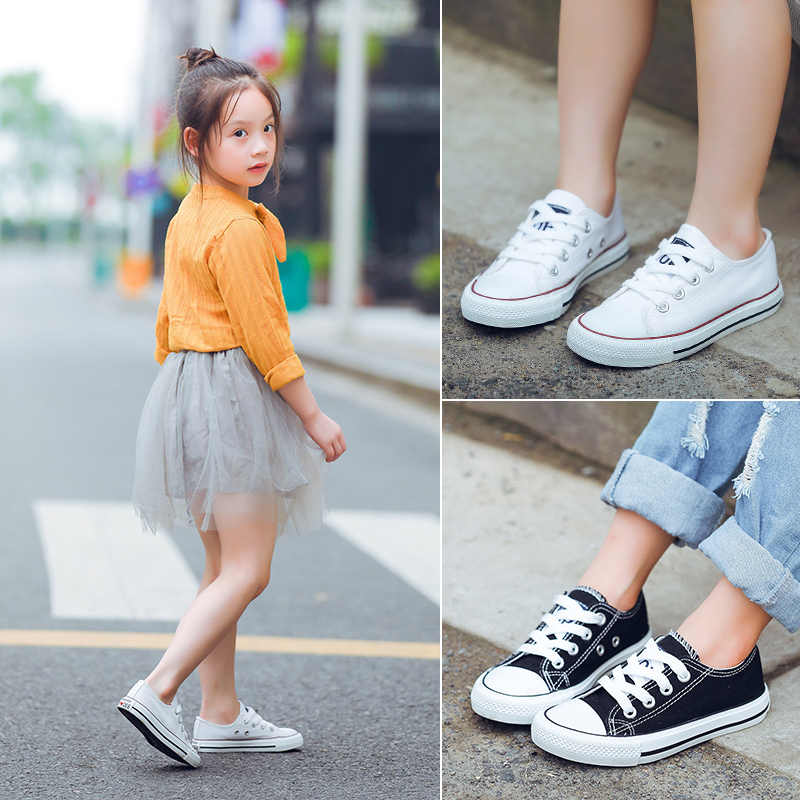 Children Classic white Canvas Shoes Kids Shoes Boys & Girls Sneakers Tendon flat Shoes with Rubber sole