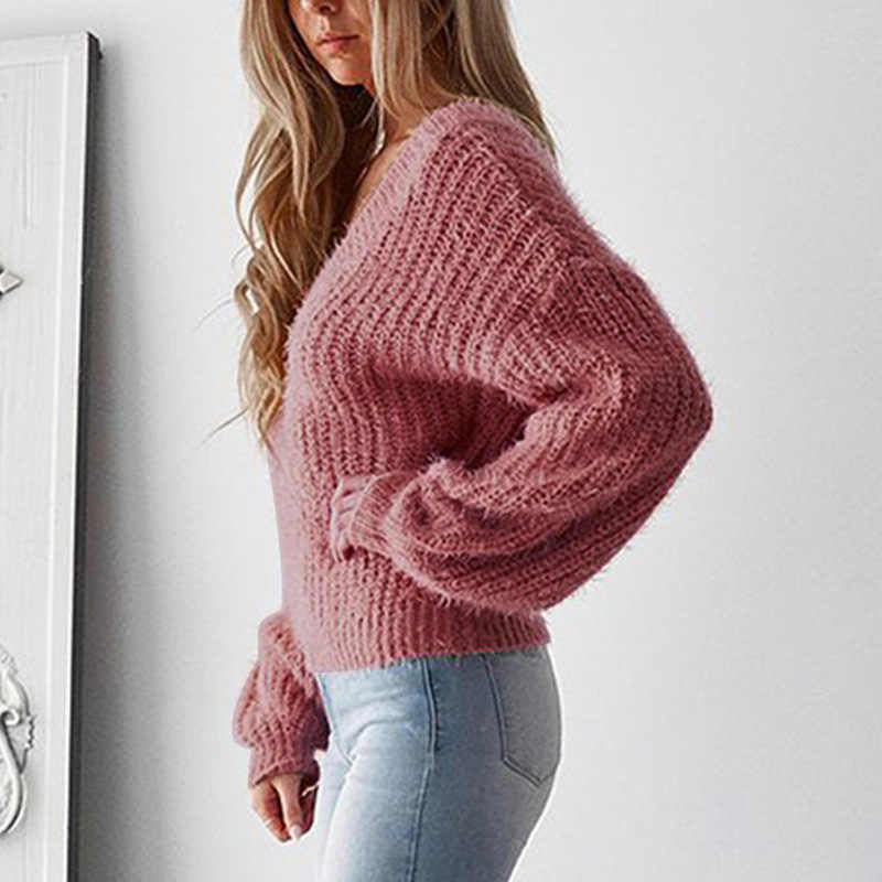 스웨터 여성 2019 v-목 솔리드 컬러 캐주얼 느슨한 레이스 Backless 가을과 겨울 풀오버 의류 Vestidos MMY77022
