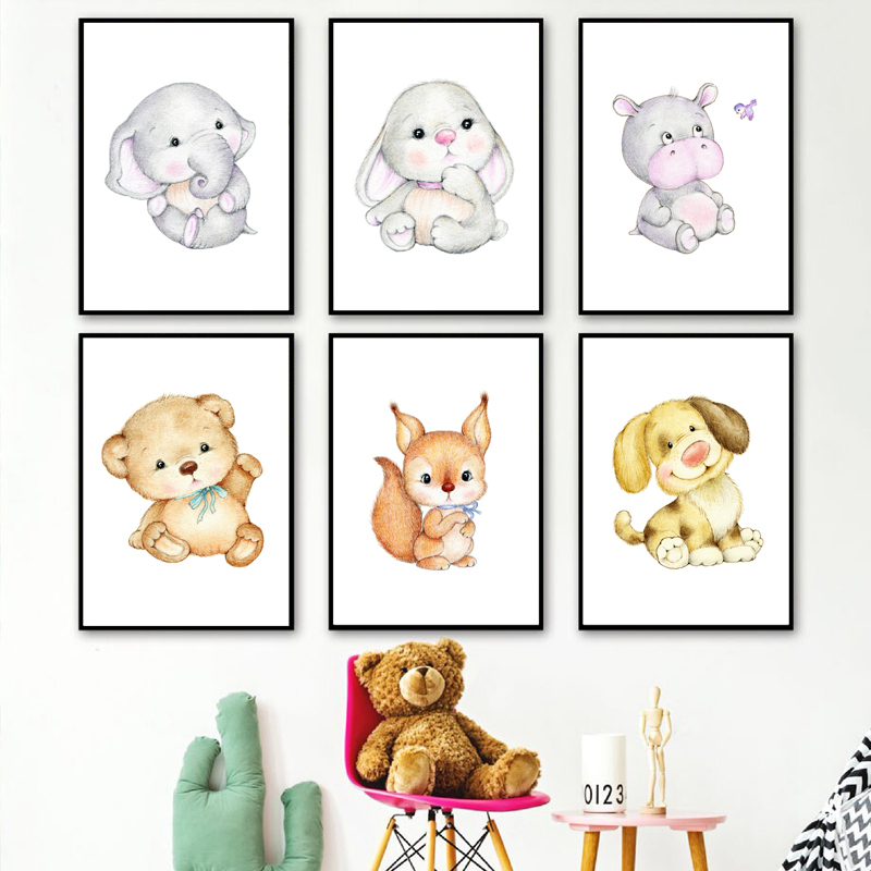 Elephant Rabbit Bear Hippo Duck Cat Dog Nursery Wall Art Canvas Painting Nordic Posters And Prints Decor Pictures Baby Kids Room image