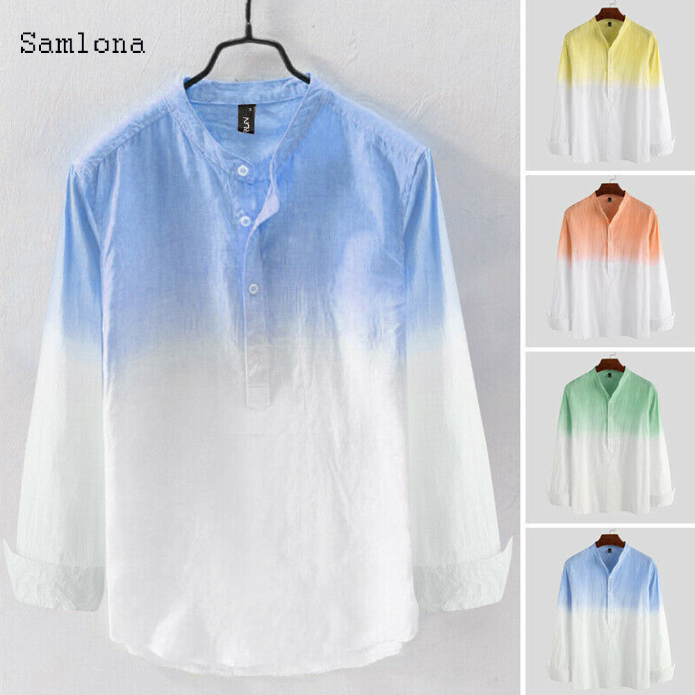 New 2020 Summer Casual Thin Shirt Men clothing Contrast Hang dyeing Open Stitch Long Sleeve Fashion urban Stand-up collar Shirts