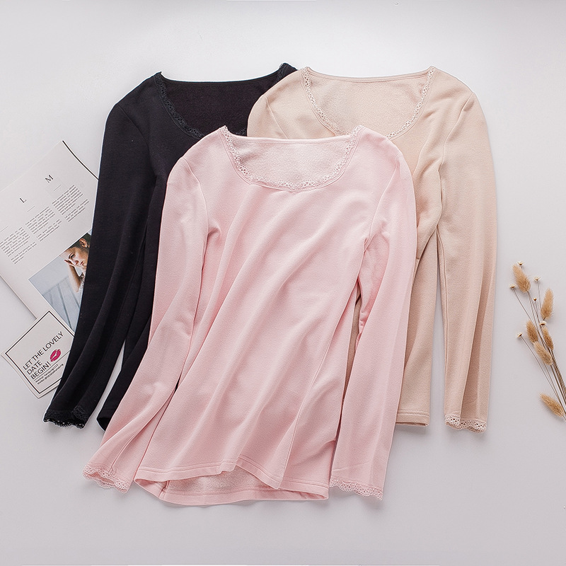 Birdsky OR-54, 220G Women mulberry silk pullover T shirt tops, lace round neck, warm fleece thermal Tees, 3 solid colors.