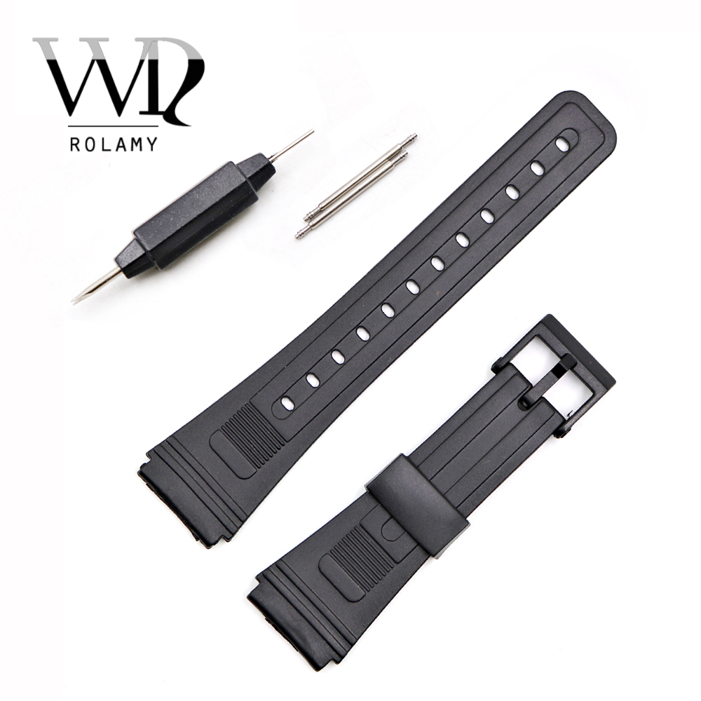 Rolamy 20mm Watch Band Strap Loop Silicone Rubber Straight End With Black Plastic Pin Buckle For Casio Cartier Omega IWC Tag
