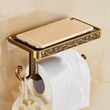 New Antique Carved Zinc Alloy Bathroom Paper Mobile Phone Holder With Shelf Towel Rack Toilet Tissue Boxes