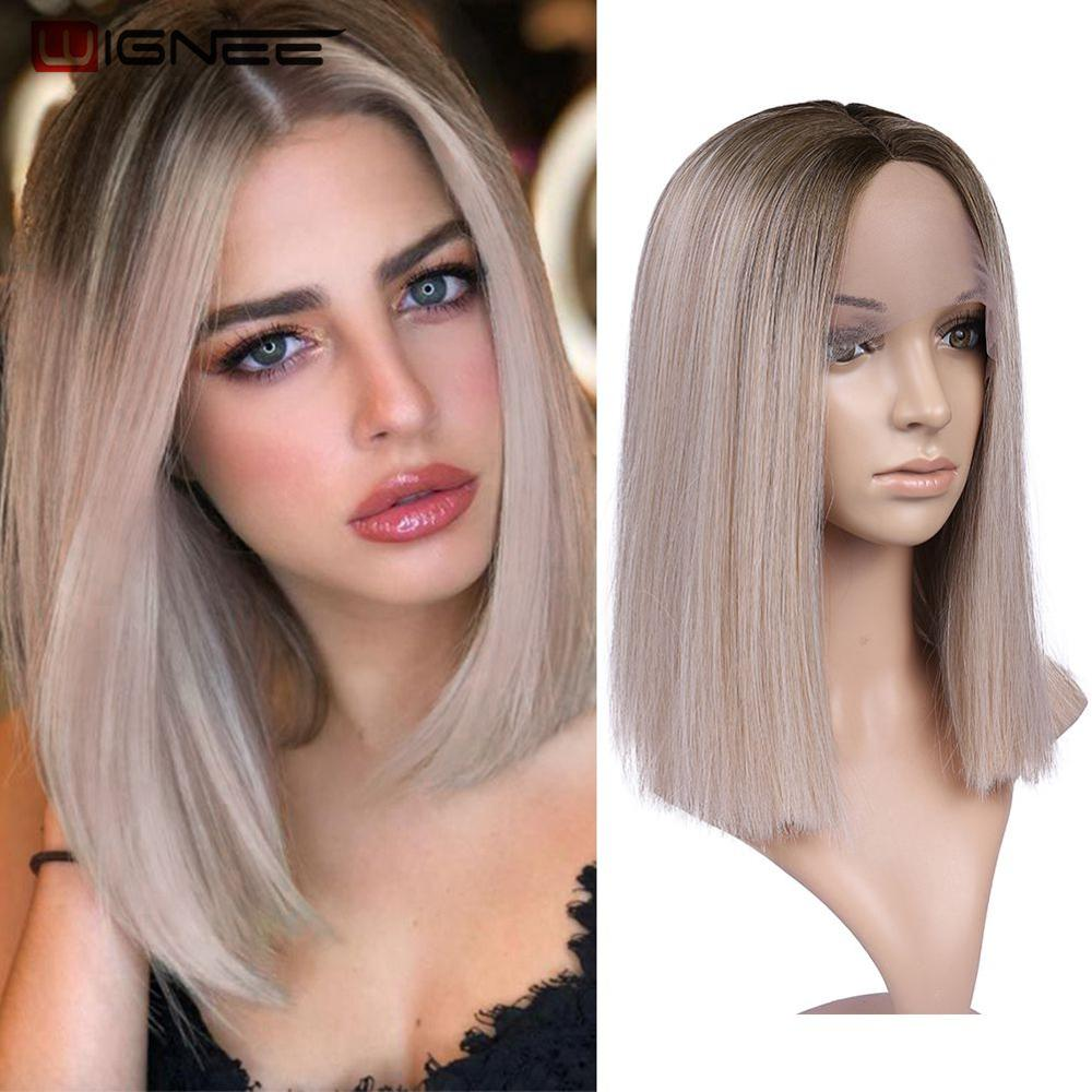 Wignee Straight Short Hair Lace Front Synthetic Wigs For Women Heat Resistant Ombre  Daily Blonde Soft Hair Glueless Daily Wig
