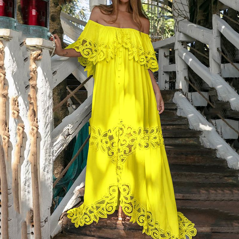 Women Bohemian Lace Maxi Dress One Shoulder Casual Asymmetrical Dress Female Elegant Chic Vacation Holiday Long Dress in Dresses from Women 39 s Clothing