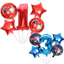 5pcs Spiderman Foil Helium Balloons Red Number Birthday Party Decoration Kids baby shower Toys Star Globos(China)