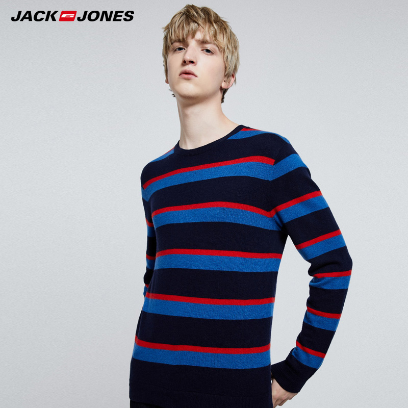 Jack Jones Mens Contrasting Stripe Round Neckline Sweater| 219324523