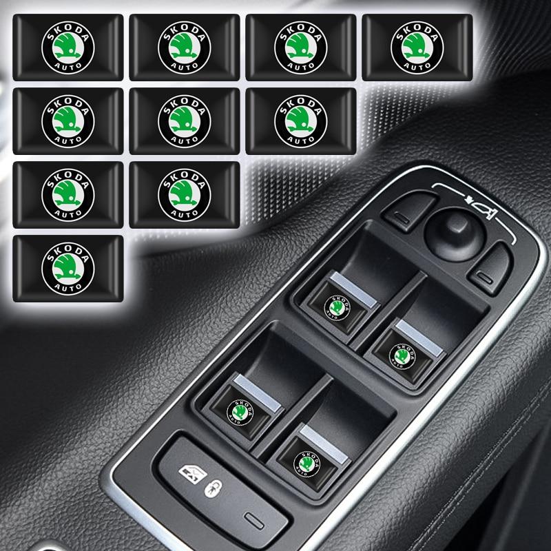 3D Mobil Styling Epoxy Resin Emblem Lencana Stiker Decals untuk Skoda Octavia Fabia Cepat Yeti Luar Biasa Octavia 5 Yang 7 2 Aksesoris