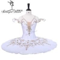 Adults Professional Tutu White Gold Women Pancake White Swan Ballet Tutus YAGP Performance Tutu Ballet Costume BT9234B