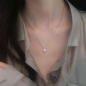 925 sterling silver geometric water drop necklace female simple clavicle chain fashion temperament pendant jewelry shiny zircon