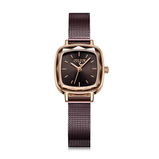 Julius Brand Vintage Quartz Watch Women Simple Fashion Square Watch Stainless Steel Waterproof Wristwatch Female   Fotoflaco.net