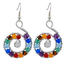 FYJS Unique Silver Plated Spiral Universe Drop Earrings Many Colors Quartz Stone Healing Chakra Jewelry