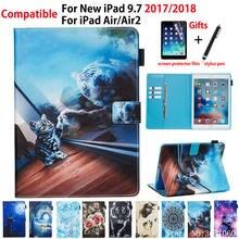 Чехол для Apple iPad 9,7 дюйма, умный чехол 6-го 5-го поколения 2018 2017 A1893 A1954 для iPad Air 2, чехол с рисунком животных, чехол + подарок