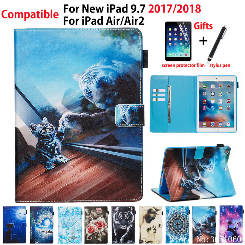 """Case For Apple iPad 9.7"""" 6th 5th Generation 2018 2017 A1893 A1954 Smart Cover For iPad Air Air 2 Funda Animal Pattern Shell Capa"""