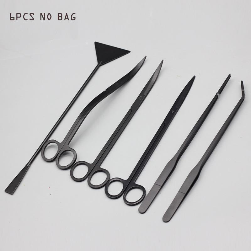 6 PCS/lot Aquarium Cleaning Tools  Landscaping Tool Kits Stainless Steel Aquatic Plants Scissors Tweezers Set Black Silver
