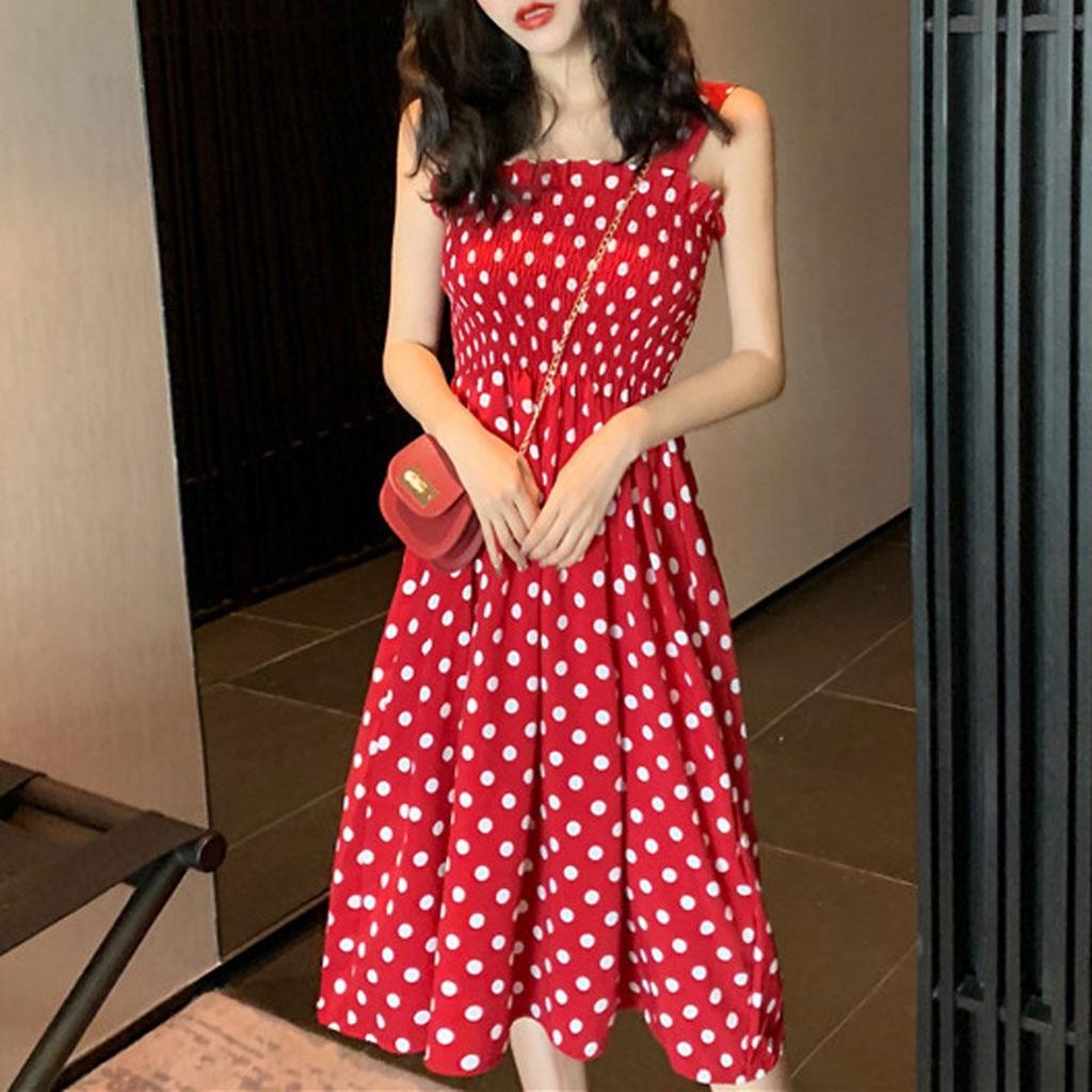 vestido de mujer Fashion Women Loose None Sleeve Polka Dot Shoulder Plus Size Casual Dress femme