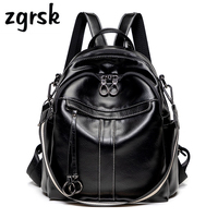Girl Backpack Student Bag Famous Brand Pu Zipper Solid Lock Pink Casual School Bags For Teenagers Mochila Notebook Bookbag