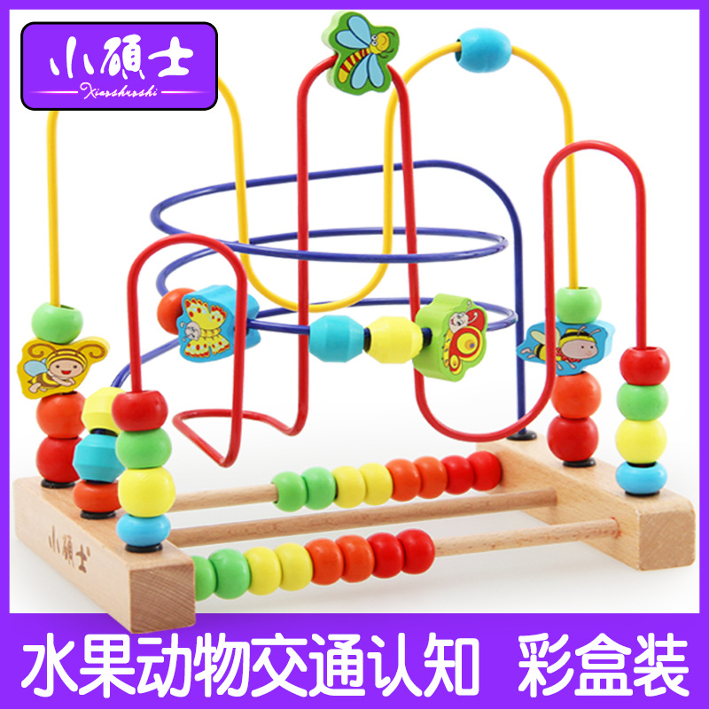 Ya Wu Building Blocks Large Size Fruit Bead-stringing Toy Wooden Educational Count Children Early Childhood Educational Toy 0.8K
