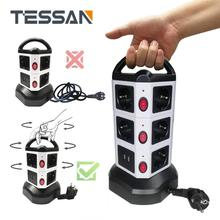 TESSAN EU Power Strip Tower Electrical Extension Power Plug Socket with USB Ports Switch 2m Cord EU Plug For charger