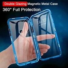 Caixa de vidro lateral dupla de metal magnético para huawei honor note 10 20 vista 20 p30 p20 pro lite 8x 9x nova 5 5i 4 4e 3i jogar 3 capa