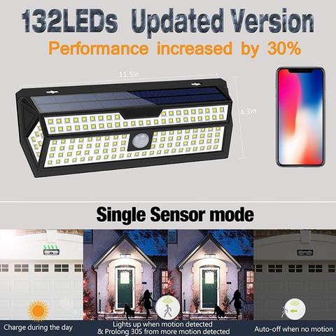 1 2 pacote litom 132 led solar