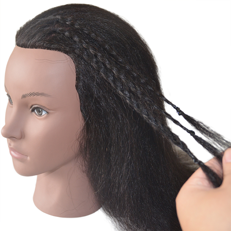 100% Real Hair African Training Head Can Dye Paint Curl Braid For Black Human Barber Hairstyle 14inch Black Hair Mannequin Head