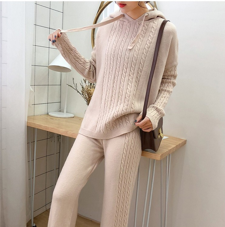 2019 Autumn Winter Women Wool Knitted Suit Soft Warm Suit Female Wide Legs Pullover Sweater & Pant 2 Piece Set
